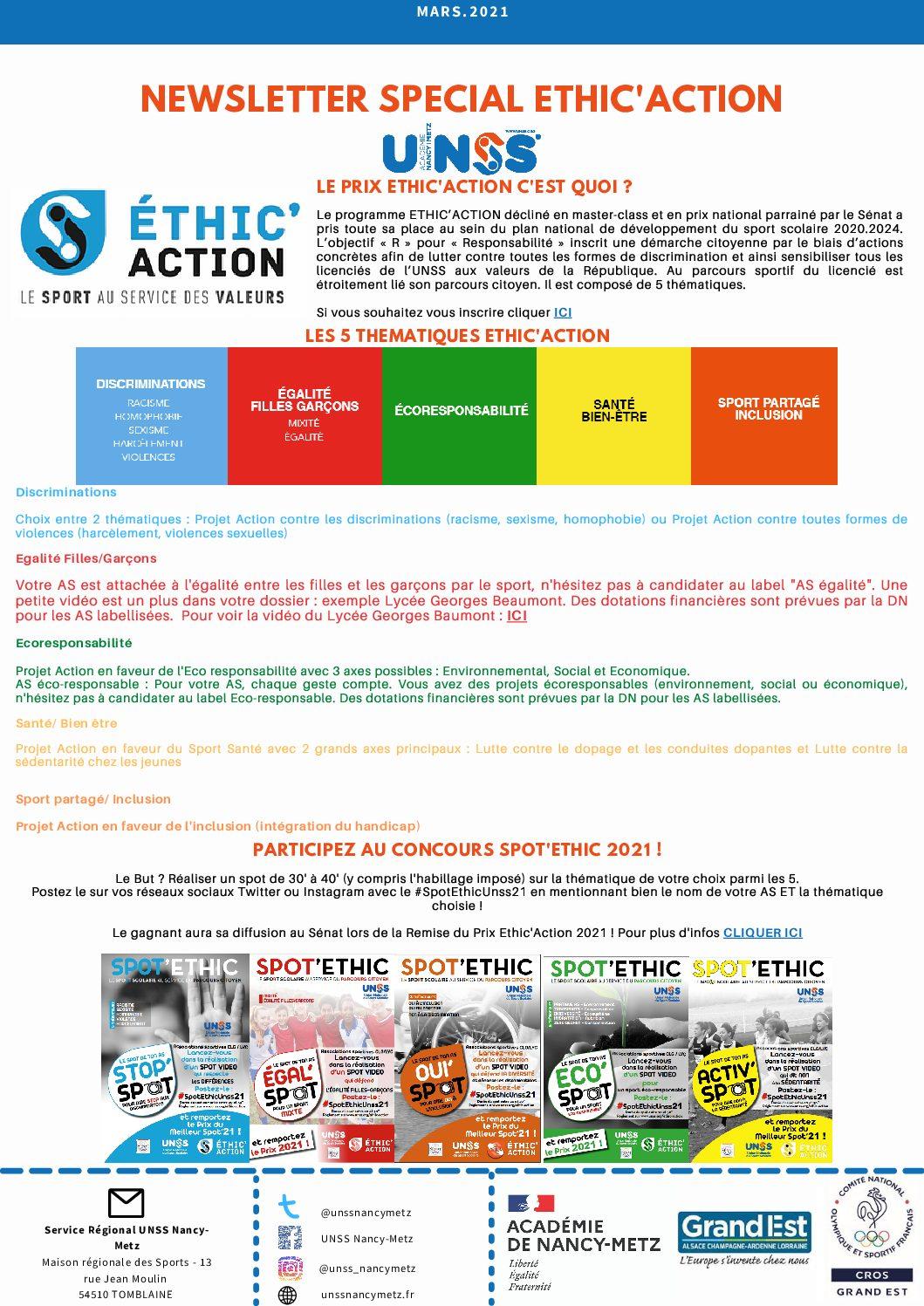 Newsletter Mars Spécial Ethic'Action